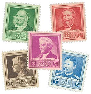 1940 American Scientists, collection of 5 stamps