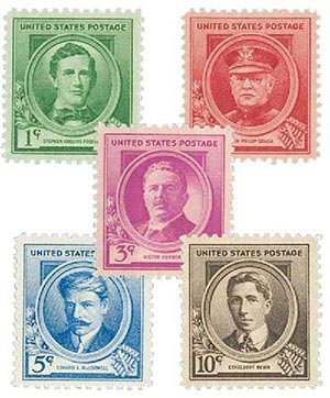 1940 American Composers, collection of 5 stamps