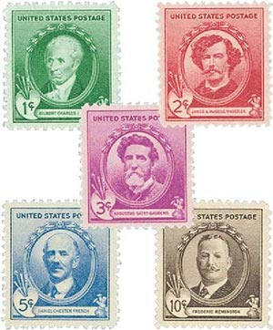 1940 American Artists, collection of 5 stamps