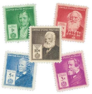 1940 American Inventors, collection of 5 stamps