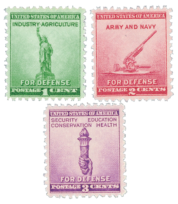 Complete Set of 3, 1940 1-3c National Defense Issue