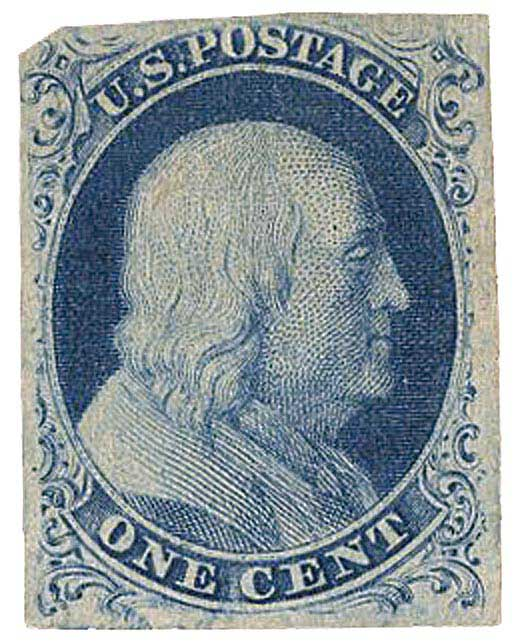 1851 1c Franklin, blue, type IIIa