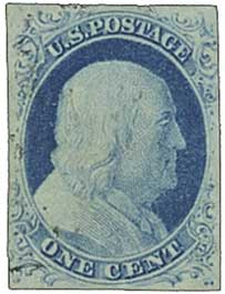 1852 1¢ Franklin, blue, imperforate, type IV