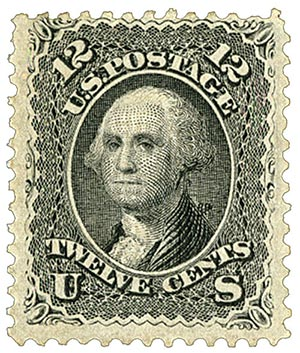 1867 12c Washington, black