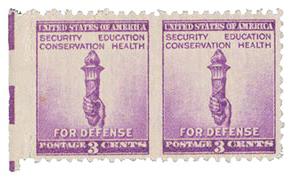 1940 3c bright violet, Horiz. pr. 1-2 perf holes between