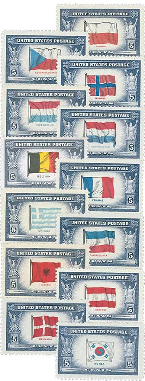 Complete Set, 1943-44 Overrun Countries Issue