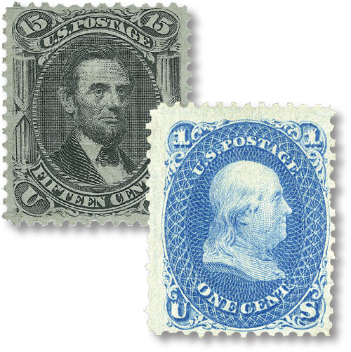 1867 15c Lincoln & Franklin, set of 2