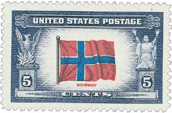 1943 Overrun Countries: 5c Flag of Norway