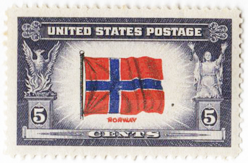 1943 5c Flag of Norway, Double impression of 'Norway'