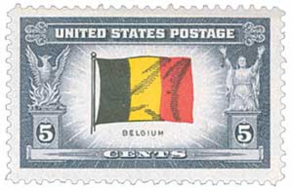 1943 5c Flag of Belgium