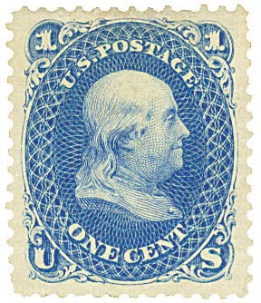 1867 1c Franklin, blue