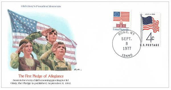 Commemorative cover marking the date the pledge was first published.