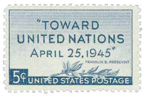 U.S. #928 was issued at the United Nations Peace Conference in 1945.