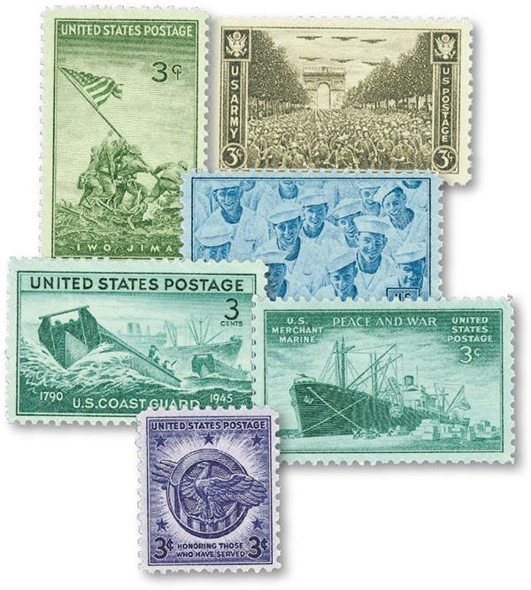 1945 American Armed Forces, collection of 6 stamps