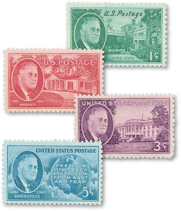 Complate Set of 4, 1945 Franlkin Roosevelt Stamps