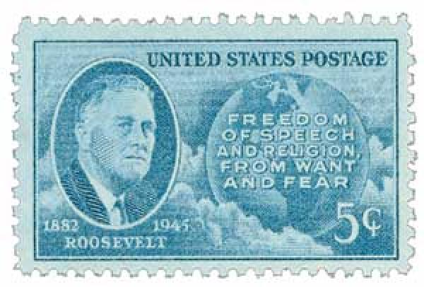 1946 5c Roosevelt and Four Freedoms