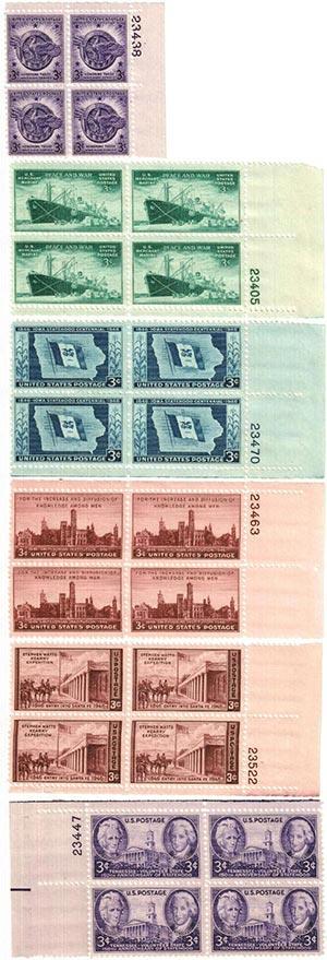 1946 Commemorative Plate Blocks - set of 6