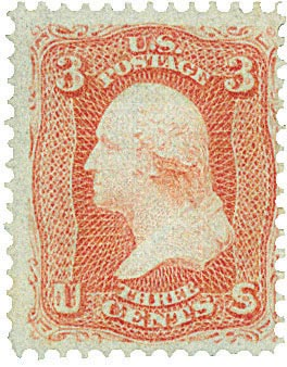 1867 3c Washington, red