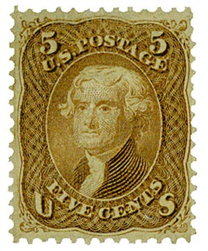 1867 5c Jefferson, brown