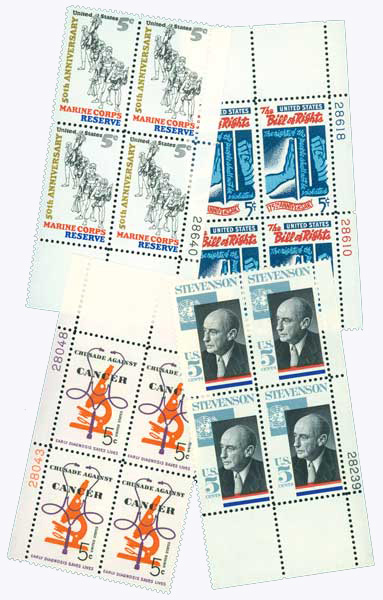 US 5c Plate Block Collection 25v