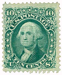 1867 10c Washington, yellow green
