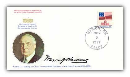 1977 Warren G Harding Commemorative Cover
