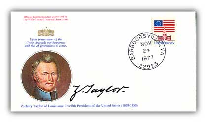 1977 Zachary Taylor Commemorative Cover