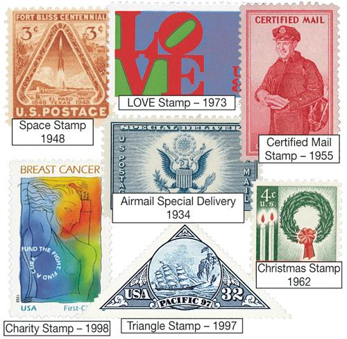 1934-1998 US Mint Stamp Firsts, collection of 7 stamps