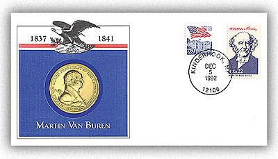 Item #97722 – Commemorative Medal Cover marking Van Buren's 210th birthday.