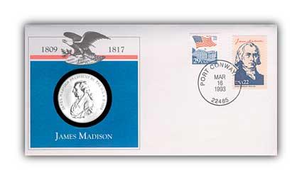 1993 James Madison Platinum Plated Medal Cvr