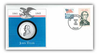 1993 John Tyler Platinum Plated Medal Cover