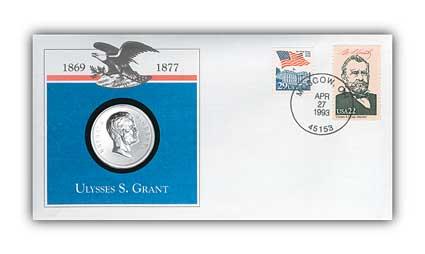 1993 Ulysses Grant Platinum Plated Medal Cvr