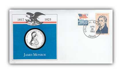 1993 James Monroe Platinum Plated Medal Cover