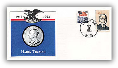 1993 Harry Truman Platinum Plated Medal Cover