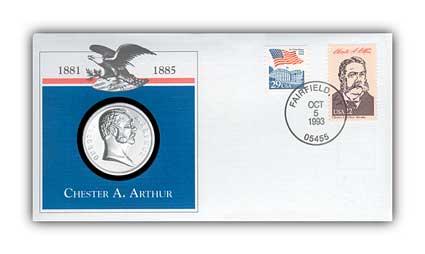 1993 Chester Arthur Platinum Plated Medal Cvr