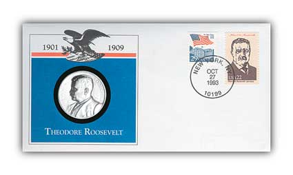 Item #97819 – Commemorative cover with medal cancelled on Roosevelt's 135th birthday.