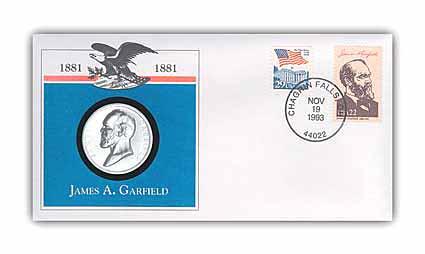 1993 James Garfield Platinum Plated Medal Cvr