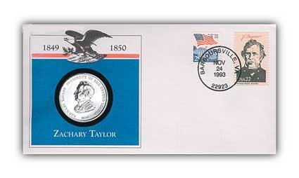1993 Zachary Taylor Platinum Plated Medal Cvr