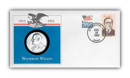 1993 Woodrow Wilson Platinum Plated Medal Cvr