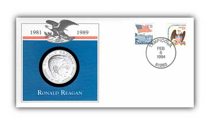 1993 Ronald Reagan Platinum EP Medal Cover