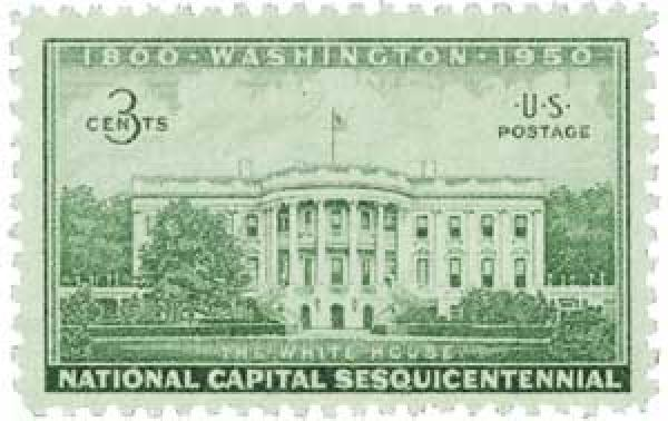 1950 3c National Capitol Sesquicentennial: Executive Mansion