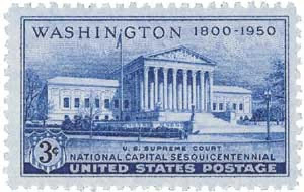 1950 3c National Capitol Sesquicentennial: Supreme Court Building