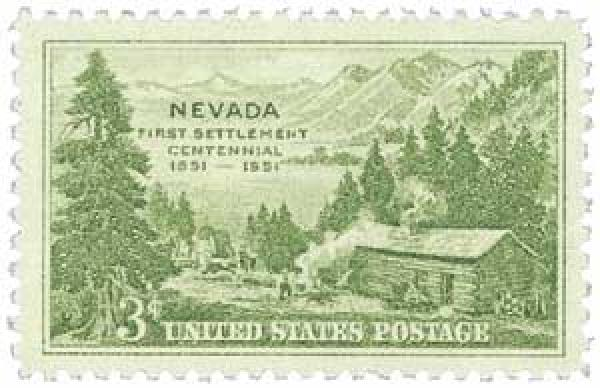 U.S. #999 was issued for the 100th anniversary of Nevada's first settlement, Carson Valley.
