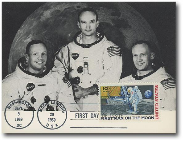 1969 #C76 on Apollo 11 Crew Official Portrait with First Day Cancel