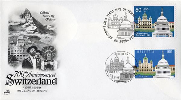 1991 - Joint Issue - US and Switzerland - Switzedrland's 700th Anniversary