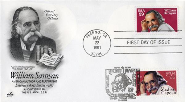 1991 Joint Issue - US and Russia - Playwright William Saroyan