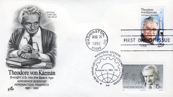 1992 - Joint Issue - US and Hungary - Aerospace Scientist Theodore von Kármán