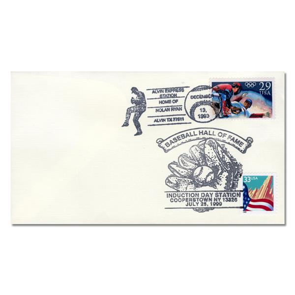 Nolan Ryan Commemorative Cover - Cancels for Retirement (1993) & Baseball Hall of Fame Induction (1999)