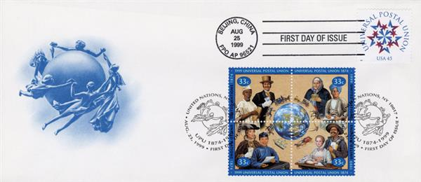1999 - US and United Nations - Universal Postal Union Sesquicentennial