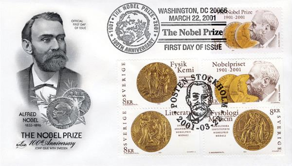 2001 Joint Issue - US and Sweden - Nobel Prize 100th Anniversary